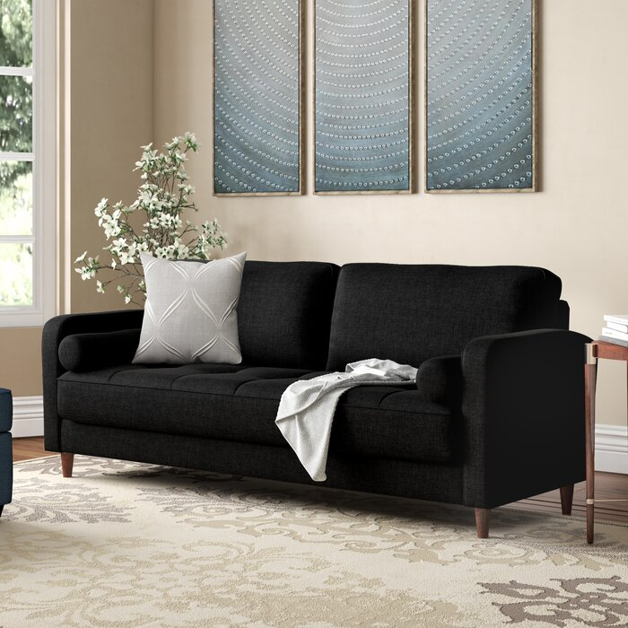 Mid-Century Modern Linen Fabric Living Room Sofa