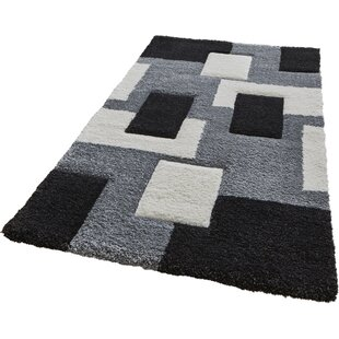 Thissell Grey/Black Area Rug by Charlton Home