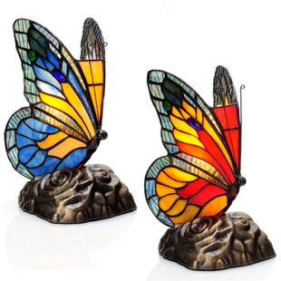 Creeve Butterfly Tiffany Style Stained Glass Touch 8.25 Table Lamp (Set of 2)
