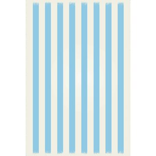 Top Brands of Couto Strips of European Light Blue/White Indoor/Outdoor Area Rug By Ebern Designs