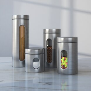 Etonnant Wayfair Basics 4 Piece Stainless Steel Kitchen Canister Set