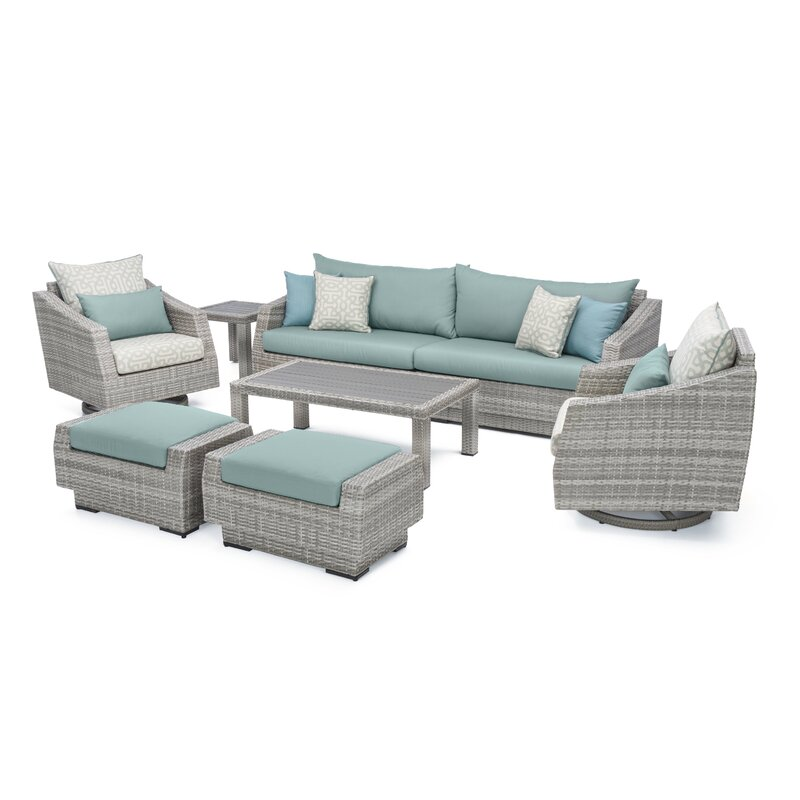 Greenfield Deluxe 8 Piece Sunbrella Sofa Set With Cushions