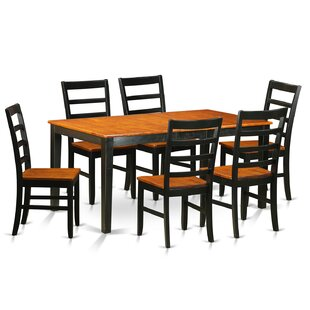 Pillar 7 Piece Wood Dining Set with Recta..