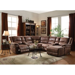 Charlton Home Marcellus Leather Reclining Sectional