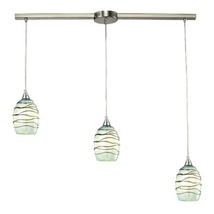 Angelika 3-Light Glass Shade Cluster Pendant by Bloomsbury Market