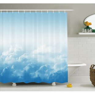 Nature Peaceful Fluffy Clouds Shower Curtain Set