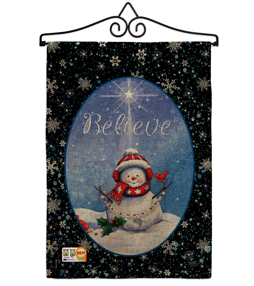 Breeze Decor Believe Winter Christmas Impressions 2 Sided Polyester 19 X 13 In Flag Set Wayfair