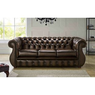 Colvard Genuine Leather 3 Seater Chesterfield Sofa By Astoria Grand
