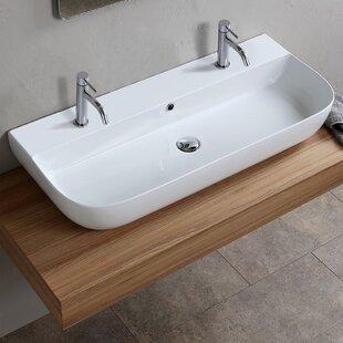 Top Reviews Ceramic Vessel Bathroom Sink with Overflow ByScarabeo by Nameeks