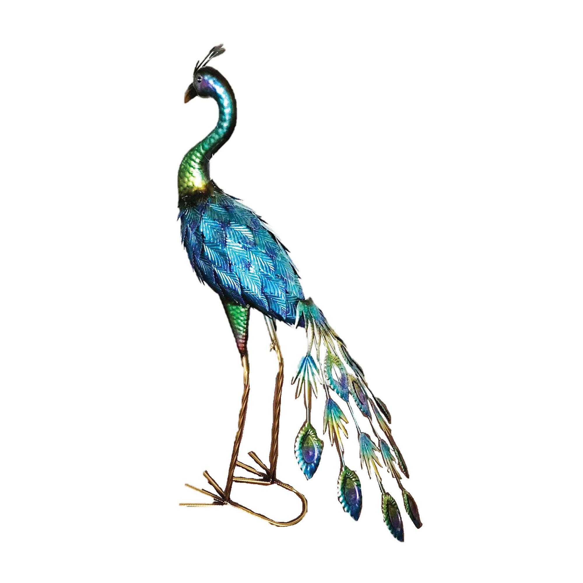Bloomsbury Market Marinel Iron Peacock Statue Reviews Wayfair