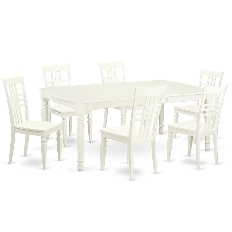 East West 7 Piece Dining Set In Linen White | Wayfair