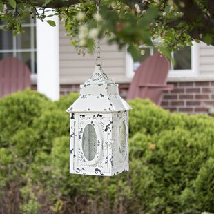 Great Price Derrell Punched Metal Lace Cordless 1 Light LED Outdoor Hanging Lantern By Bungalow Rose