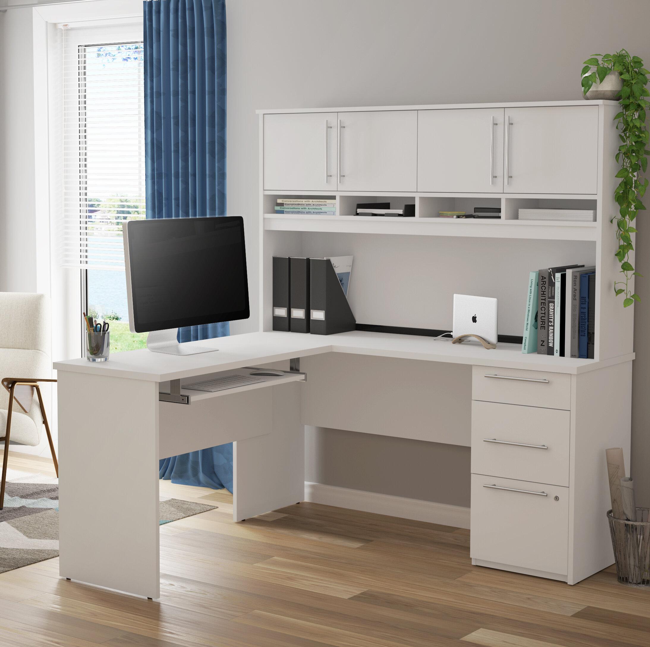 Symple Stuff Altha Plus L-Shaped Computer Desk with Hutch ...