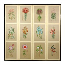 72 x 72 Twelve Small Flowers Folding 4 Panel Room Divider by Oriental Furniture