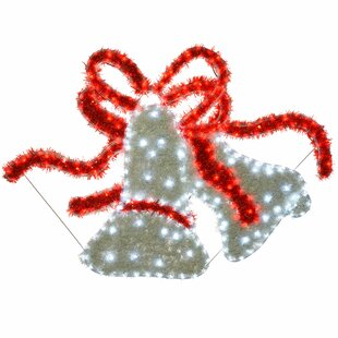 Large Bells LED Tinsel Outdoor Garden Wall Christmas 24 Lighted Display Image