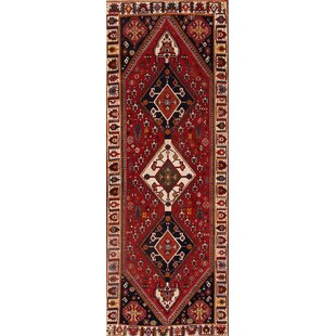 One-of-a-Kind Trevion Abadeh Vintage Nafar Persian Hand-Knotted Runner 3'6 x 10' Wool Red/Black Area Rug Isabelline