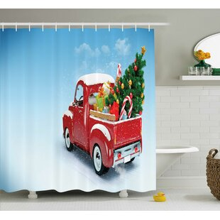 Christmas Red Truck Xmas Tree Single Shower Curtain