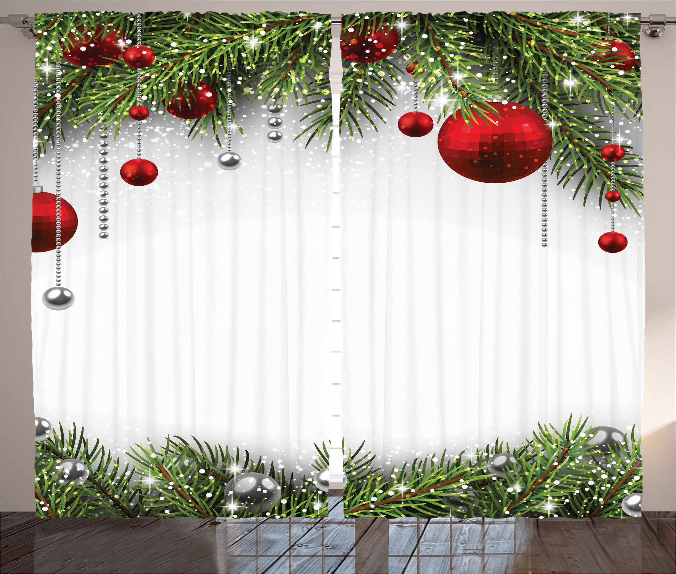Christmas Decorations.Christmas Decorations Noel Backdrop With Fir Leaves Ative Balls Classic Religious Graphic Print Text Semi Sheer Rod Pocket Curtain Panels