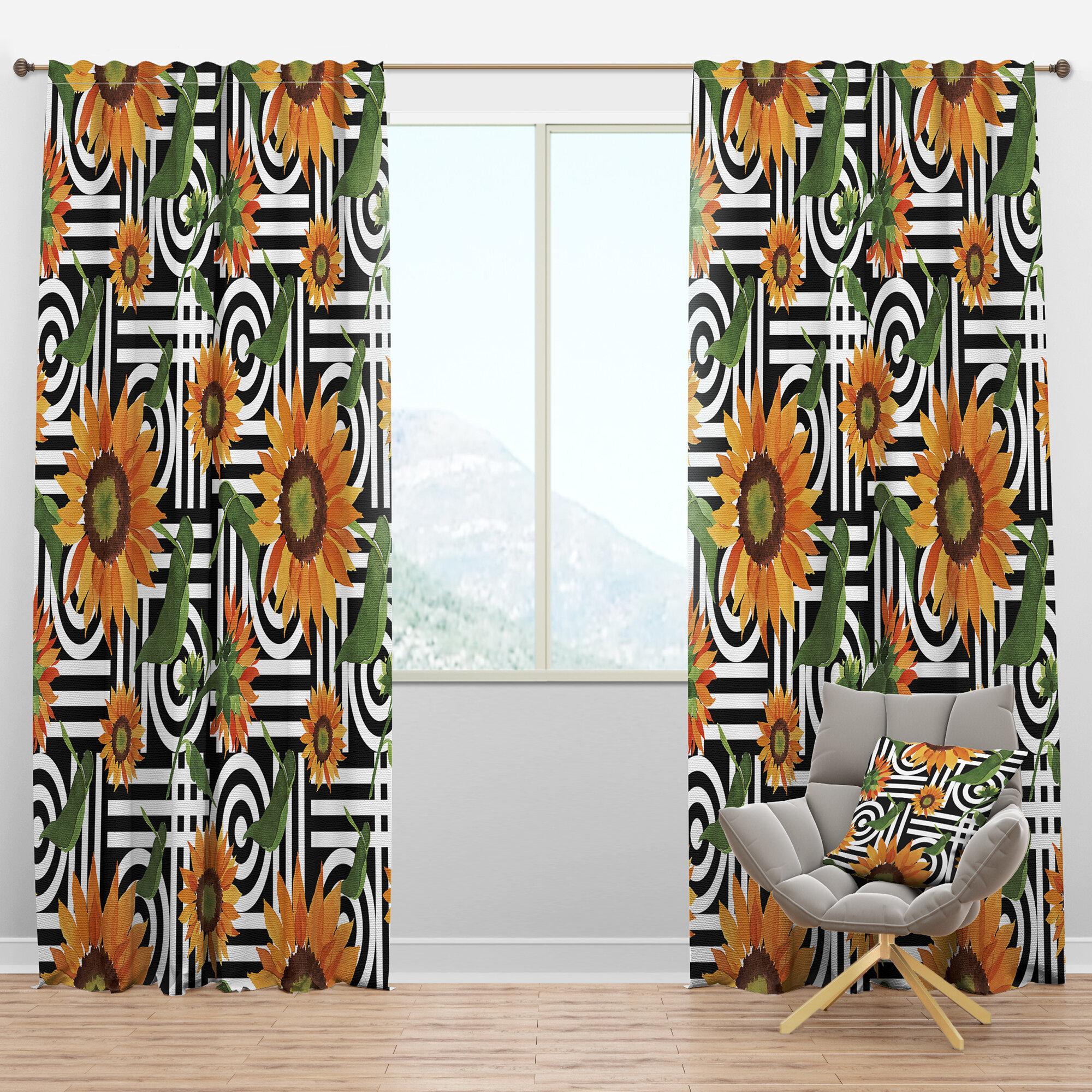 Designart Mid Century Botanical Ii Floral Semi Sheer Thermal Rod Pocket Single Curtain Panel Wayfair