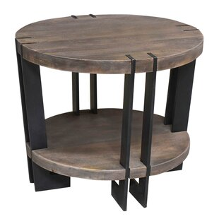 Bengal Manor Iron and Acacia Wood End Table