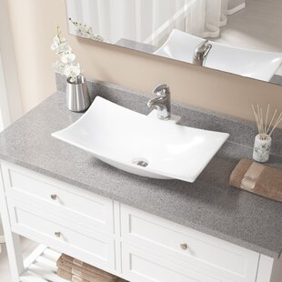 Compare Vitreous China Rectangular Vessel Bathroom Sink with Faucet ByMR Direct