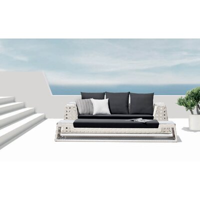 100 Essentials Happy Hour Sofa with Cushions Finish White Fabric Sunbrella Natural