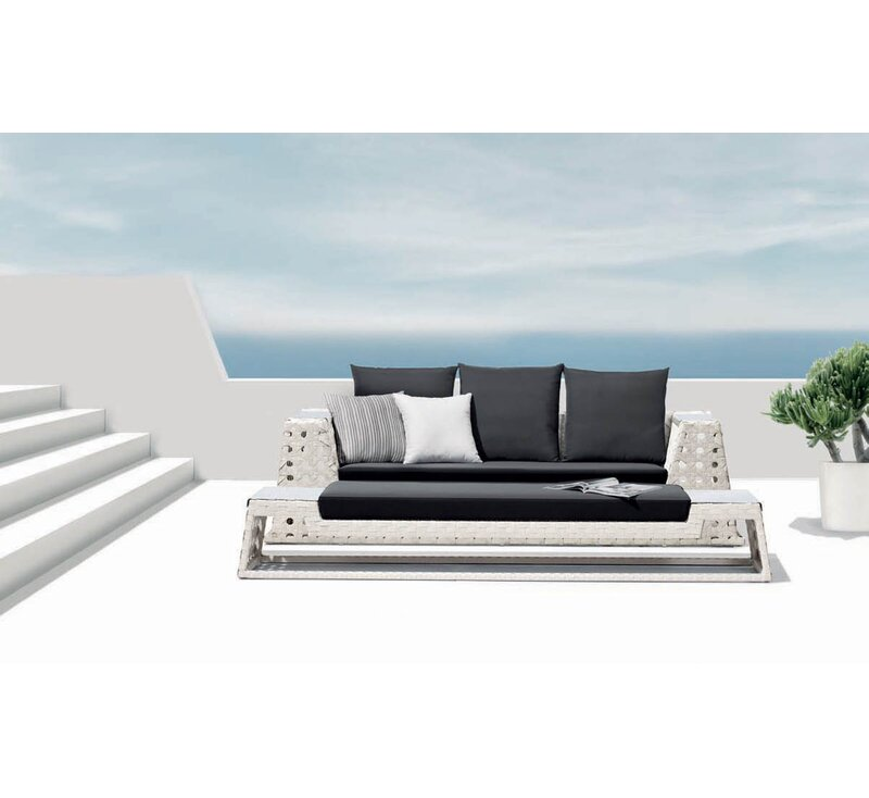 100 Essentials  Happy Hour Sofa with Cushions Finish: White, Fabric: Sunbrella Pacific Blue