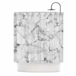 East Urban Home 'White Marble' Shower Curtain