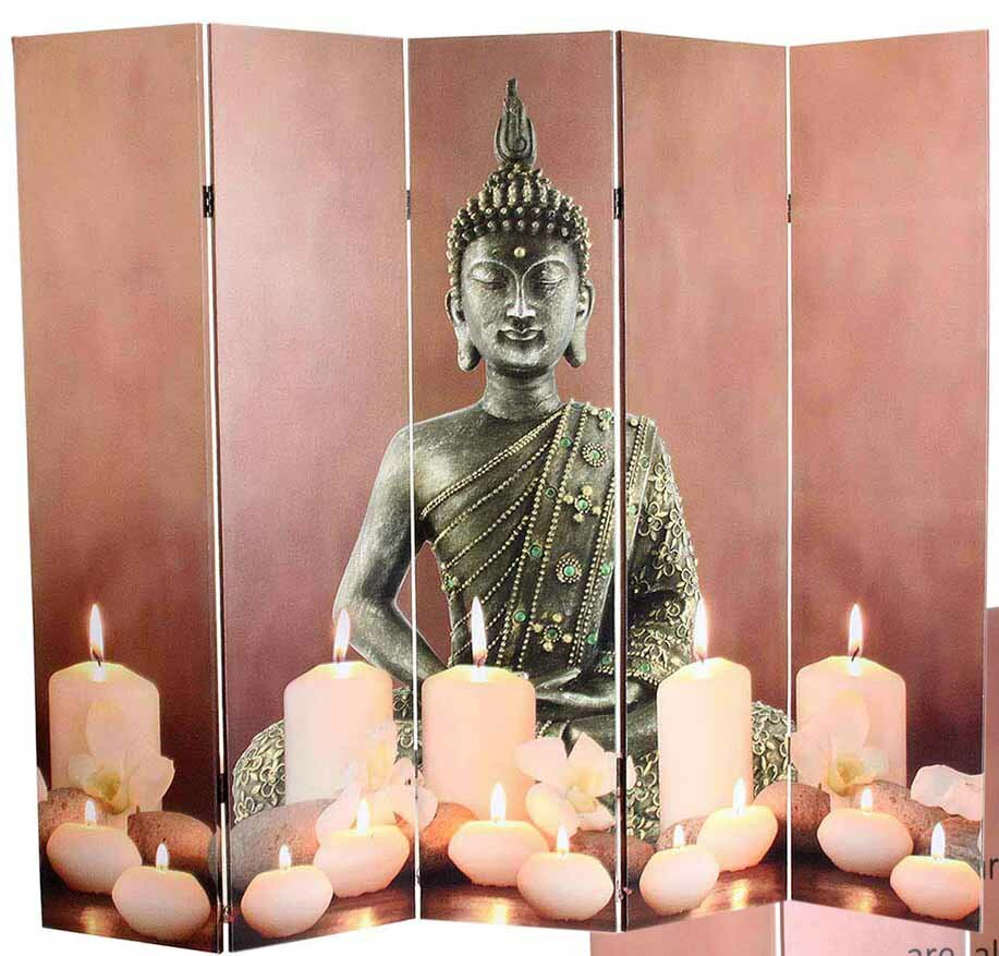 World Menagerie Buddha Berkane 5 Panel Room Divider Wayfaircouk