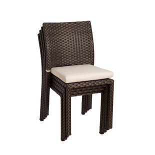 Brighton Stacking Patio Dining Chair with Cushion (Set of 4)