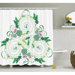 Gabriel Three Legged Macro Single Celtic Form With Curved Lines Extending Centre Print Single Shower Curtain by Ivy Bronx Best #1