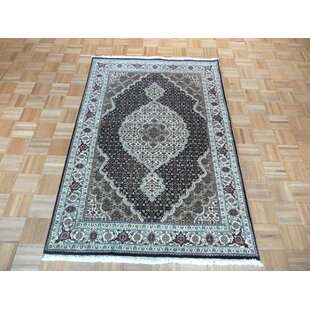 Online Reviews Beaton Hand-Knotted Black Area Rug By Isabelline