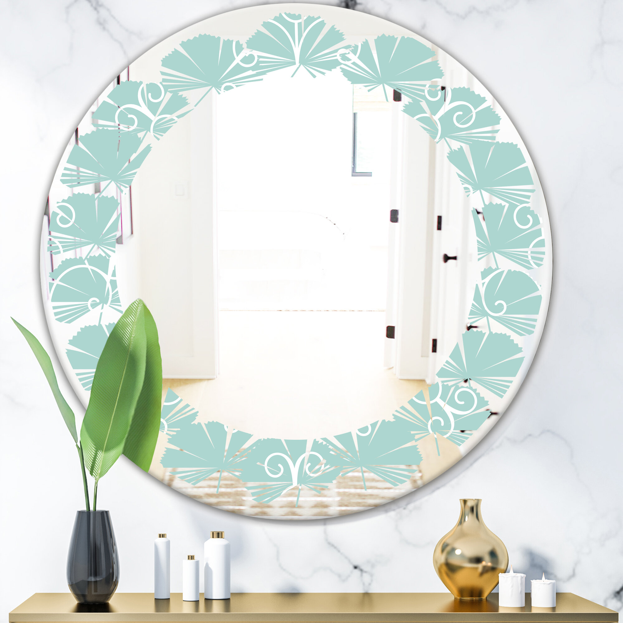 East Urban Home Leaves Minimal Ornament Cottage Americana Frameless Wall Mirror