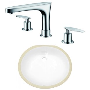 Great deal Ceramic Oval Undermount Bathroom Sink with Faucet and Overflow ByAmerican Imaginations