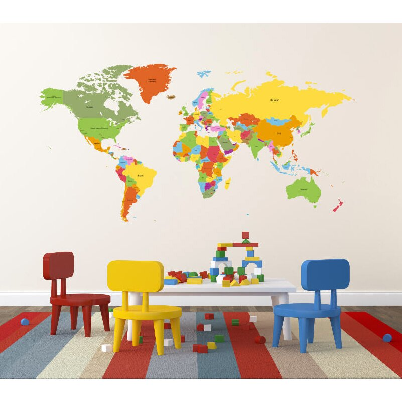 Pop decors educational world map for kids room wall decal for Wall map for kids room