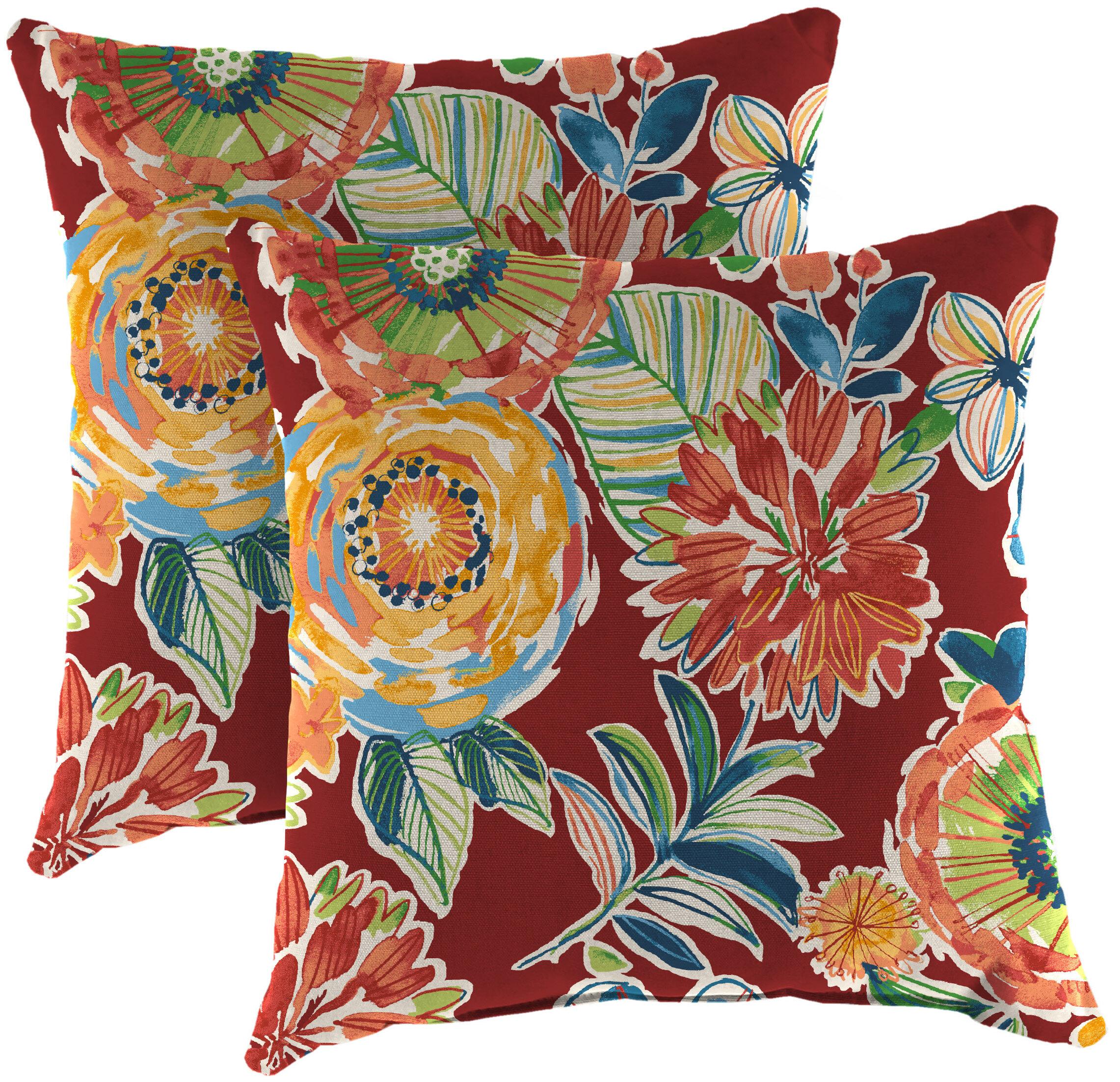 Andover Mills Mcalpine Indoor Outdoor Floral Throw Pillow Reviews Wayfair