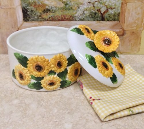 Abchomecollection Sunflower Ceramic Food Storage Container With Lid Wayfair