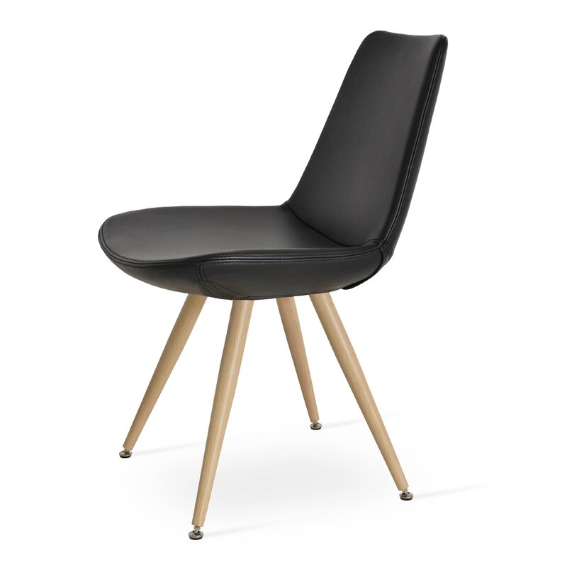 Sohoconcept Eiffel Star Genuine Leather Upholstered Dining Chair In Black Ppm Leatherette Reviews Wayfair