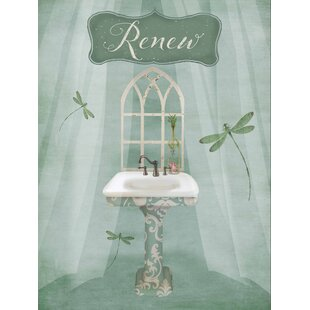 Vintage Bathroom Inspired Renew Green Sink By Beth Albert Graphic Art Print On Wrapped Canvas