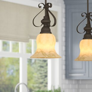 Order Gregory Scroll 1-Light Bell Pendant By Three Posts