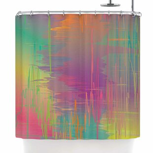 Graphic Tabby Rainbow Storm Abstract Single Shower Curtain