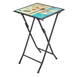 Barnwell Iridescent Dragonfly Folding Steel Bistro Table