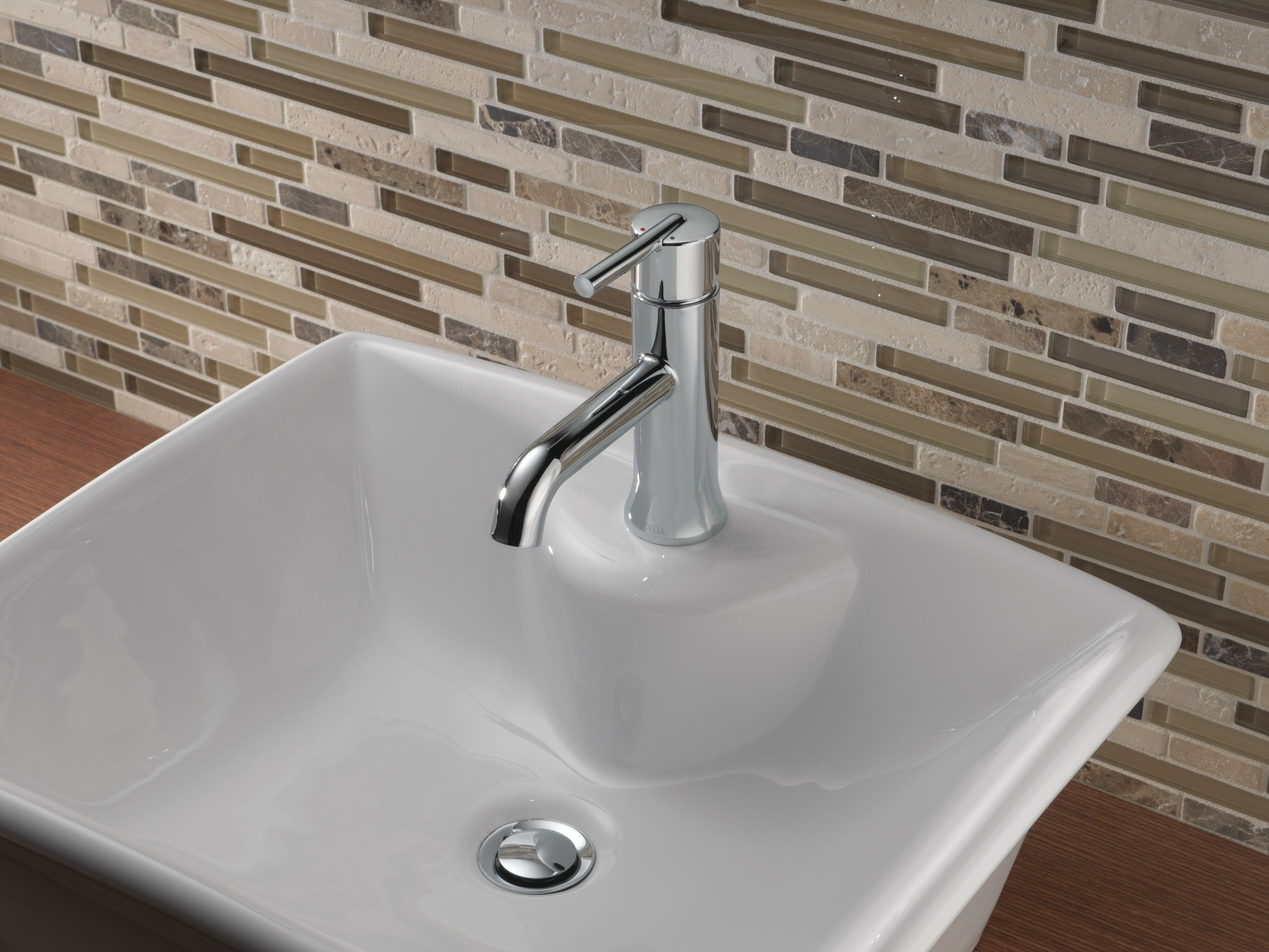 Delta Trinsic® Single Hole Bathroom Faucet with Optional Pop-Up Drain Assembly & Reviews | Wayfair