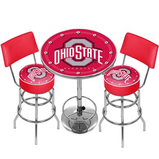 NCAA Ohio State University Game Room Combo 3 Piece Pub Table Set by Trademark Global