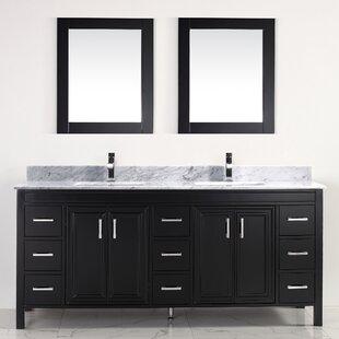 "Coraline 75"" Double Bathroom Vanity Set with Mirror"