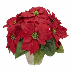 Poinsettia w/Ceramic Vase Silk Floral Arrangement