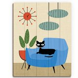 'Retro Cat in Chair and Clock' Graphic Art Print on Wood