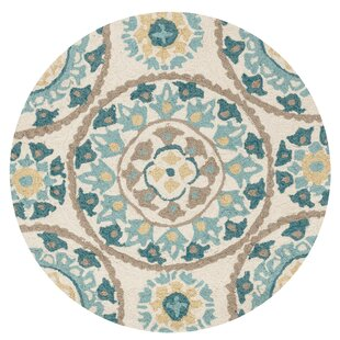 Amedeo Hand-Hooked Blue Medallion Area Rug by Birch Lane? Heritage