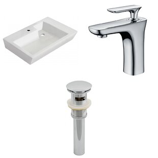 Best Reviews Ceramic 18 Wall Mount Bathroom Sink with Faucet and Overflow ByAmerican Imaginations