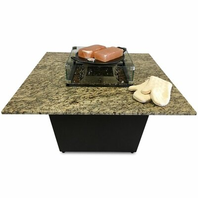 Ebern Designs Muse Aluminum Granite Gas Fire Pit Table  Top Finish: Santa Cecilia